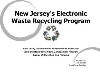 New Jersey s Electronic Waste Recycling Program