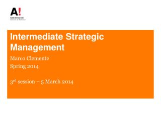 Intermediate Strategic Management