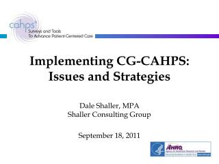 Implementing CG-CAHPS: Issues and Strategies