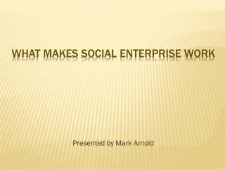 WHAT MAKES SOCIAL ENTERPRISE WORK