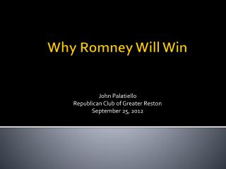 Why Romney Will Win