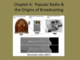 Chapter 6:  Popular Radio & the Origins of Broadcasting