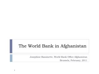The World Bank in Afghanistan
