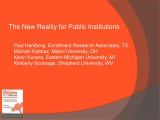 The  New Reality for Public Institutions