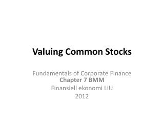 Valuing Common Stocks