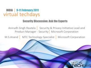Security Discussion: Ask the Experts