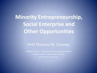 Minority Entrepreneurship,  Social Enterprise and Other Opportunities