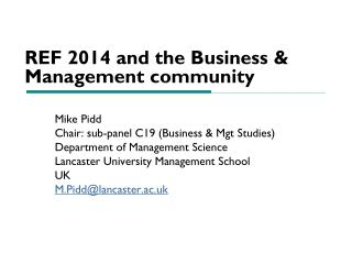 REF 2014 and the Business & Management community