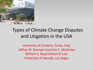 Types of Climate Change Disputes and Litigation in the USA
