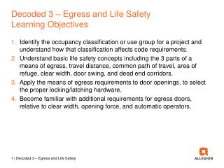 Decoded  3  –  Egress and Life Safety Learning  Objectives