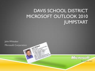 Davis School district Microsoft Outlook 2010 Jumpstart