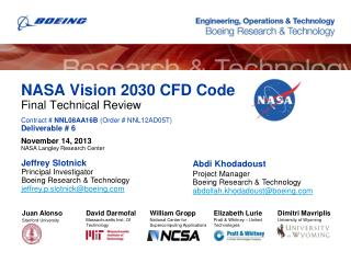 NASA Vision 2030 CFD Code Final Technical Review Contract #  NNL08AA16B  (Order # NNL12AD05T) Deliverable # 6 November 1