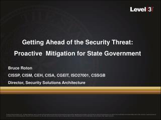 Getting Ahead of the Security Threat: Proactive  Mitigation for State Government