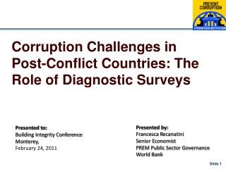 Corruption Challenges in Post-Conflict Countries: The Role of Diagnostic Surveys