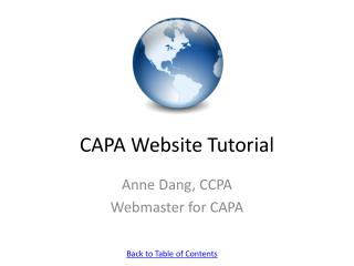 CAPA Website Tutorial