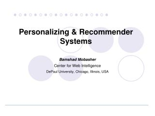 Personalizing  & Recommender Systems
