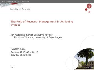 The  Role  of Research Management in  Achieving Impact