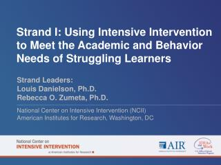 Strand I: Using Intensive Intervention to Meet the Academic and Behavior Needs of Struggling Learners