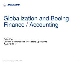 Globalization and Boeing Finance / Accounting