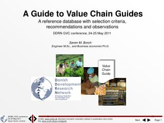 A Guide to Value Chain Guides A reference database with selection criteria,  recommendations and observations