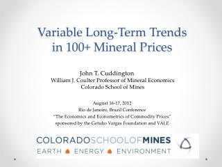 Variable Long-Term Trends  in 100+ Mineral Prices