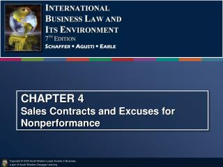 CHAPTER 4 Sales Contracts and Excuses for Nonperformance