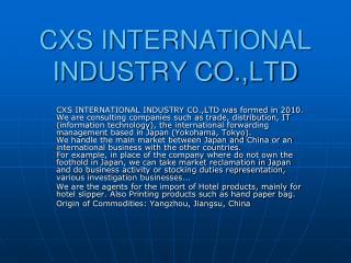 CXS INTERNATIONAL INDUSTRY CO.,LTD