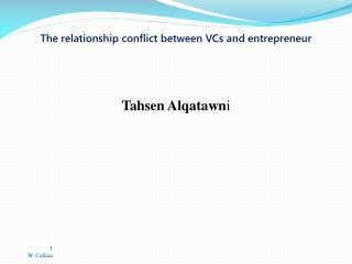 The relationship conflict between VCs and entrepreneur