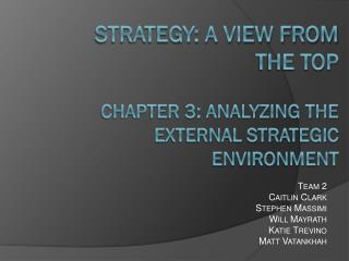 Strategy: A View from the Top Chapter 3: Analyzing the External Strategic Environment