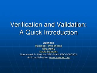 Verification and Validation: A Quick Introduction