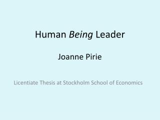 Human  Being  Leader Joanne Pirie