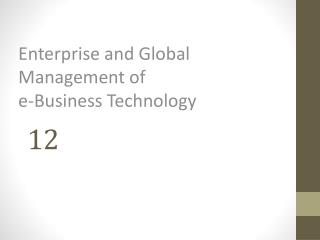 Enterprise and Global  Management of  e-Business Technology