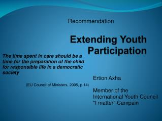 Extending Youth Participation