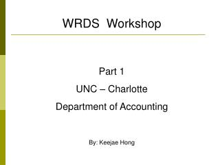 WRDS  Workshop