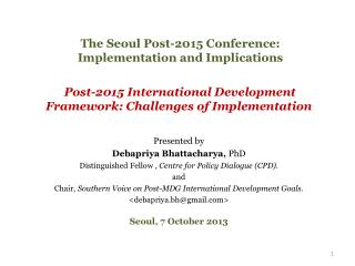 The Seoul Post-2015 Conference: Implementation and Implications