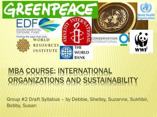 MBA course: International Organizations and Sustainability
