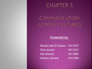 Chapter 5  communication across cultures