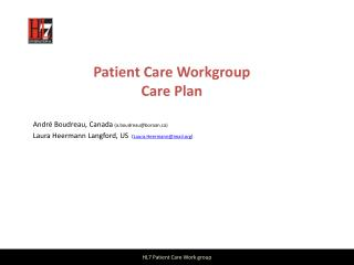Patient Care Workgroup Care Plan