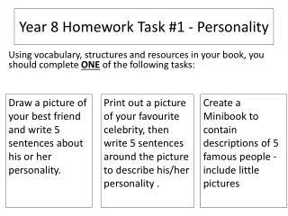Year 8 Homework Task #1 - Personality