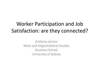 Worker Participation and Job Satisfaction: are they connected?