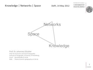 Knowledge  |  Networks  | Space		 Delft, 14 May 2012