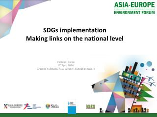 SDGs  implementation Making  links on the national level