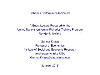 Fisheries Performance Indicators