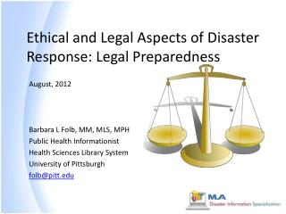 Ethical and Legal Aspects of Disaster Response: Legal Preparedness