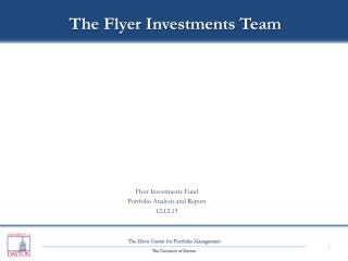 Flyer Investments Fund Portfolio Analysis and Report 12.12.13