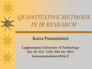 QUANTITATIVE METHODS IN IB RESEARCH