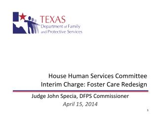House Human Services Committee Interim Charge: Foster Care Redesign