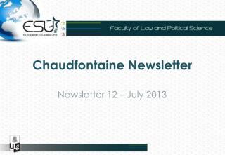 Chaudfontaine Newsletter