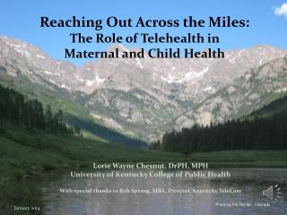 Reaching Out Across the Miles: The Role of Telehealth in  Maternal and Child Health