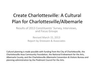 Create Charlottesville: A Cultural Plan for Charlottesville/Albemarle